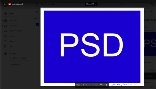 Открытие PSD-файла в Google Диске