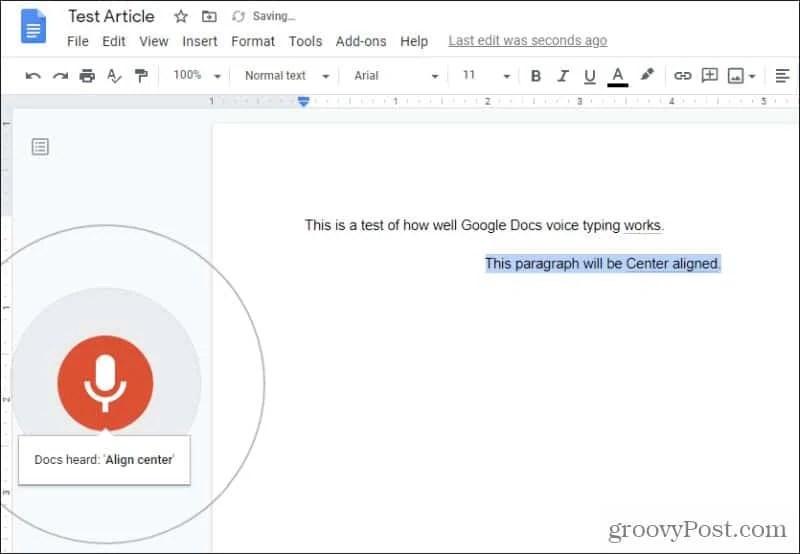 новый абзац с голосовым набором документов Google