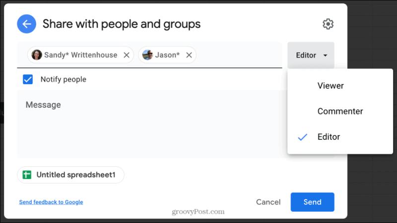 Поделиться с людьми и группами