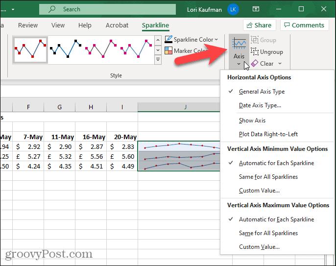 Кнопка оси на вкладке Sparkline в Excel