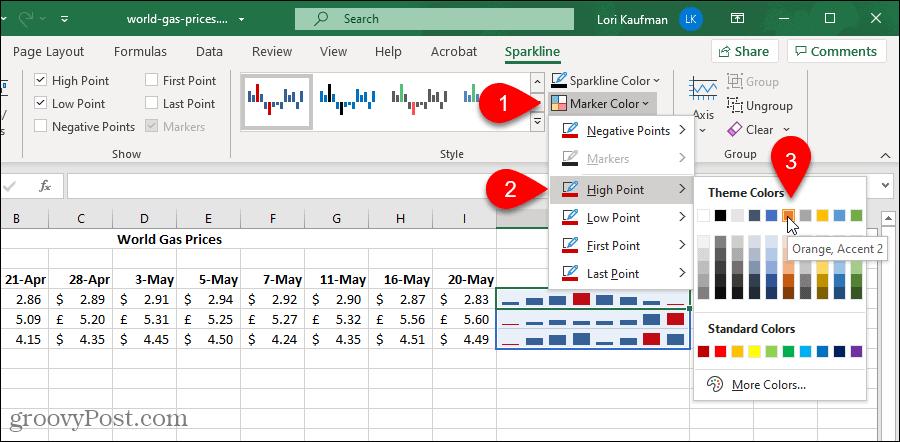 Изменение цвета маркера на диаграмме Excel Sparklines