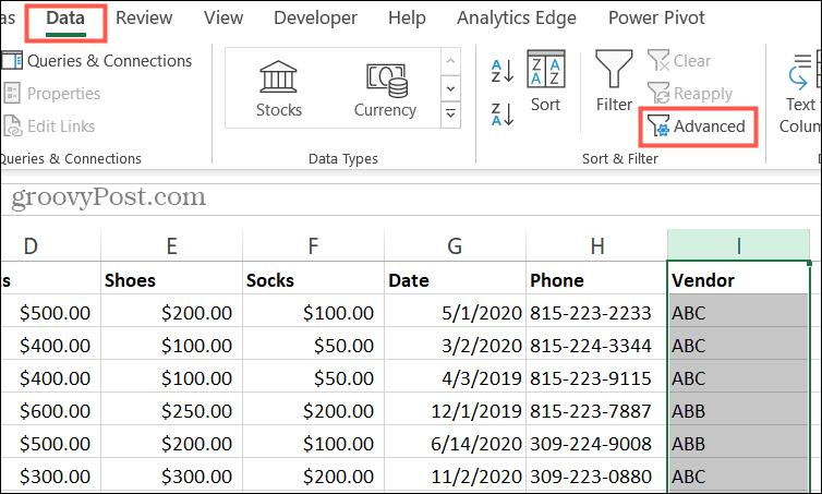 Нажмите Advanced на вкладке Data.