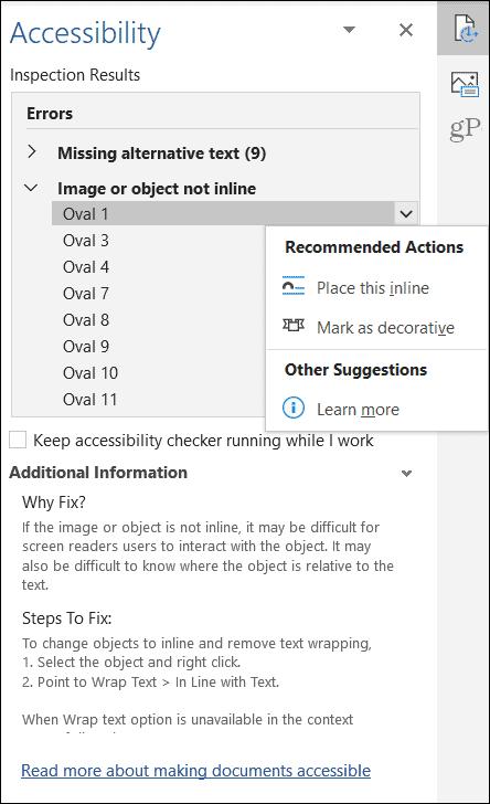 Результаты объекта средства проверки доступности Microsoft Office