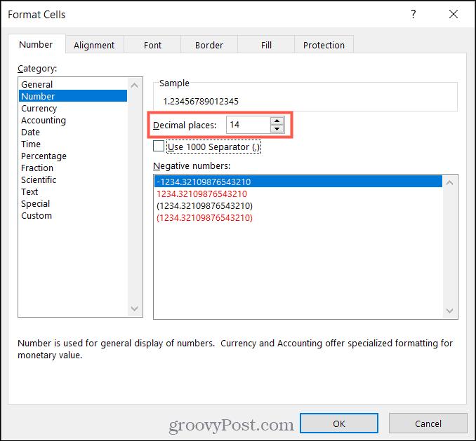 Остановите округление чисел в Excel, задав десятичные разряды