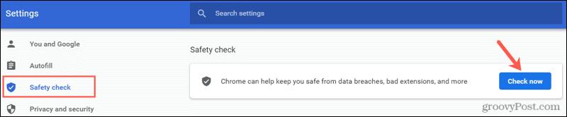 Выполните проверку безопасности в Chrome