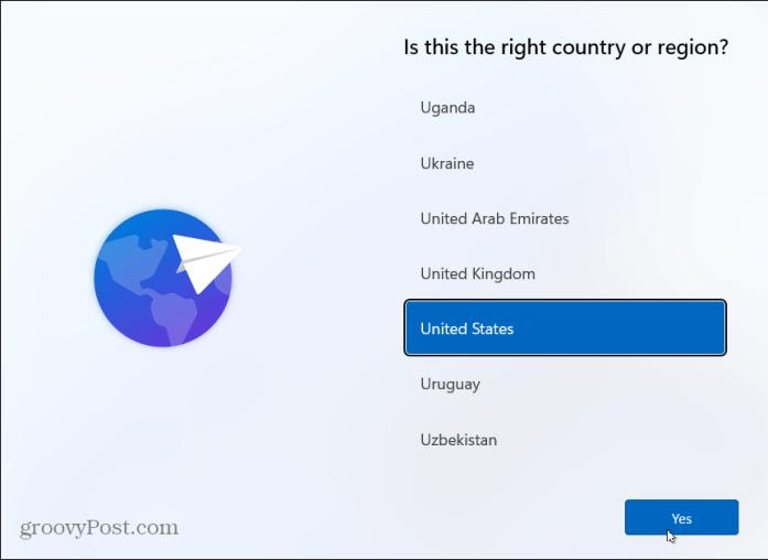 Выберите страну Установить Windows 11