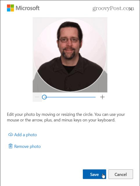 настроить фото и сохранить учетную запись microsoft