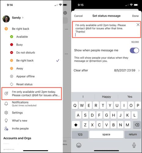 Отредактируйте или удалите статусное сообщение на мобильном телефоне