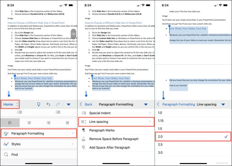 Форматирование абзаца, межстрочный интервал в Word на мобильном устройстве