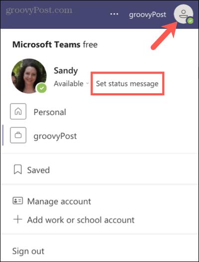 Установите сообщение о состоянии в Microsoft Teams