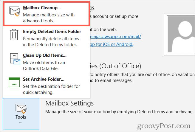 Инструменты, очистка почтового ящика в Outlook
