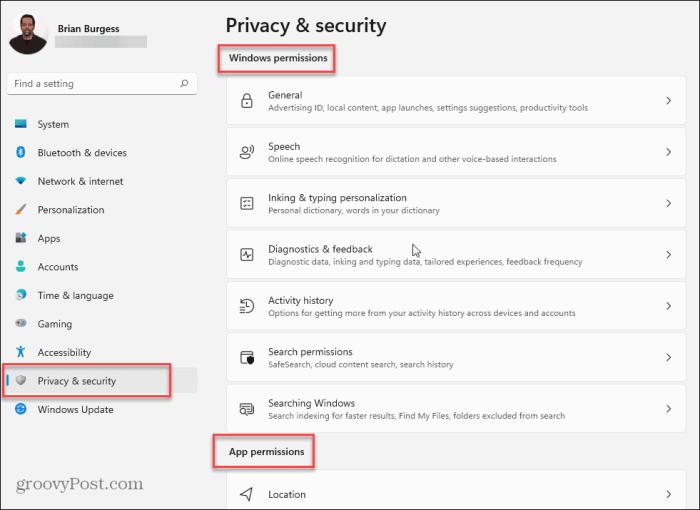 изменить настройки конфиденциальности-Windows-11