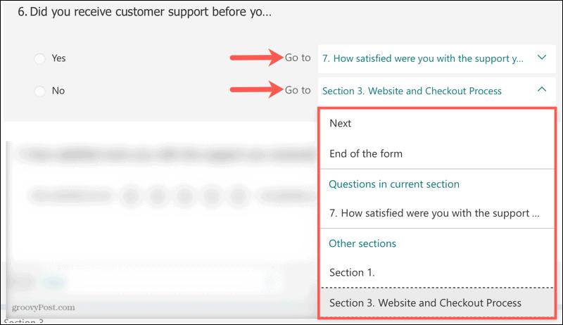 Настроить ветвление в Microsoft Forms