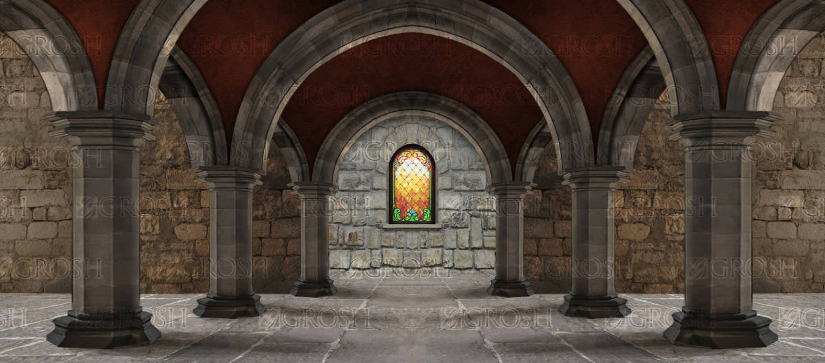 Dark Castle Interior Backdrop  S3693  Grosh Backdrops