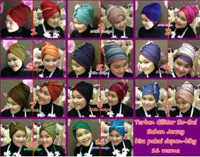 turban bolbal 11 warna