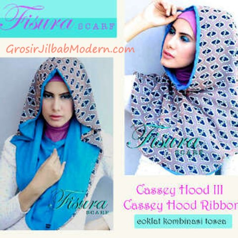 Jilbab Cassey Hood Ribbon Coklat Kombinasi Toska