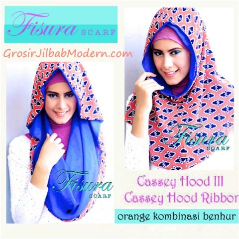 Jilbab Cassey Hood Ribbon Orange Kombinasi Benhur
