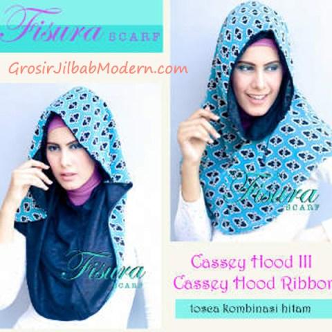 Jilbab Cassey Hood Ribbon Toska Kombinasi Hitam