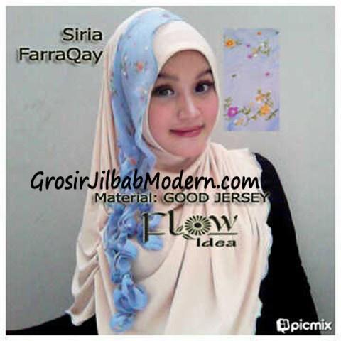 Jilbab Syria FarraQay Cream-Biru
