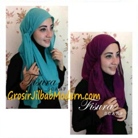 Jilbab Twisted Hoodie Hijau Toska dan Ungu