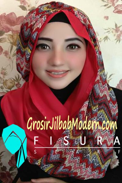 Jilbab ZipZag  Hoodie Merah