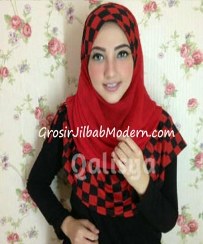 Jilbab Syria Elmo No 3 Merah Hitam