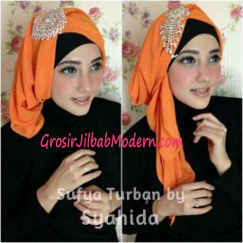 Turban Pesta Sufya Exclusive by Syahida Orange
