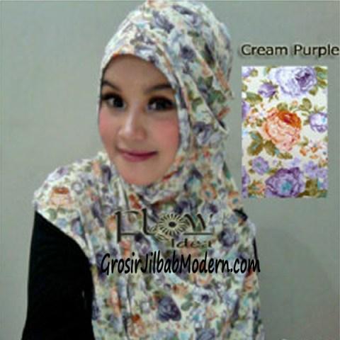 Jilbab Syria Qianne by FLOW Bunga Besar No 2 Cream Purple