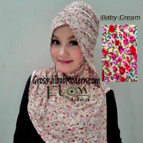 Jilbab Syria Qianne by FLOW Bunga Kecil No 2 Baby Cream