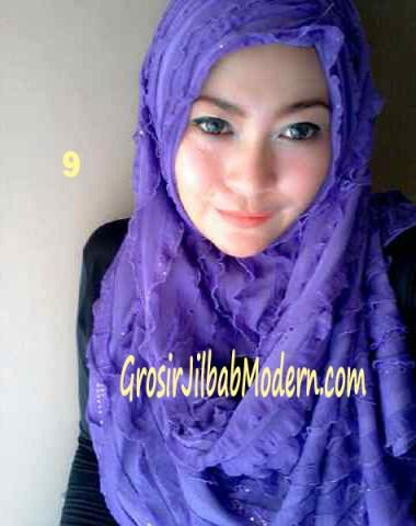 Jilbab Syrpash Ruffle Sparkling No 9 Ungu