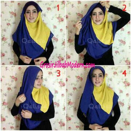 Cara Pemakaian Jilbab Syria Safa Model 1