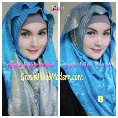 Jilbab 2 in 1 Goldee Plizt Hoodie by Apple Hijab Brand No 8 Biru