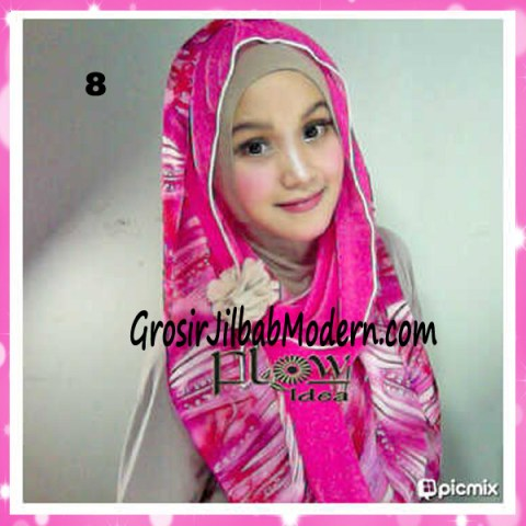 Jilbab Hoodie Scarft by FLOW No 8 Pink Fuchia