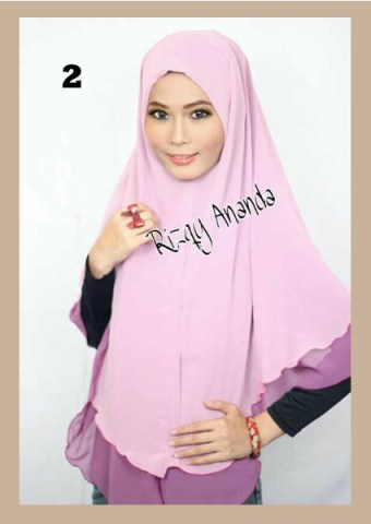 Jilbab Instant  Khimar Alena Polos No 2 Ungu Lavender