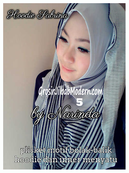 Jilbab Hoodie Bolak Balik Sabrina by Narinda No 5 Abu Muda