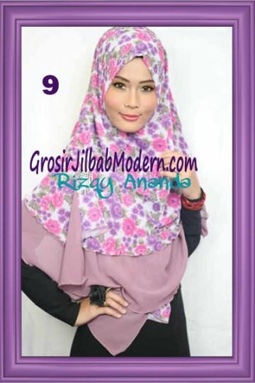 Jilbab Khimar Miriam Motif Bunga  Cantik No 9