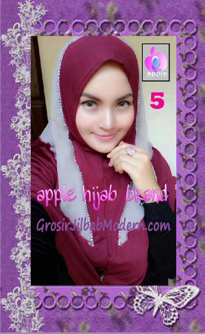 Jilbab Syria Cantik Zhafrina Diamond Original by Apple Hijab Brand No 5 Marun