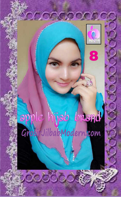 Jilbab Syria Cantik Zhafrina Diamond Original by Apple Hijab Brand No 8 Biru Toska