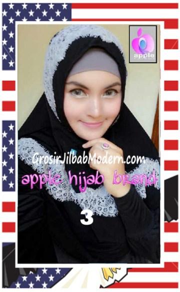 Jilbab Syria Bilqis Stylish dan Syar'i by Apple Hijab Brand No 3 Hitam