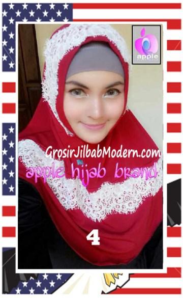 Jilbab Syria Bilqis Stylish dan Syar'i by Apple Hijab Brand No 4 Merah