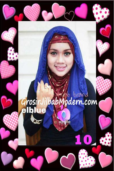 Jilbab Syria Hoodie Aesah Jolie Layer Praktis by Apple Hijab Brand No 10 Elblue ( Biru Elektrik)