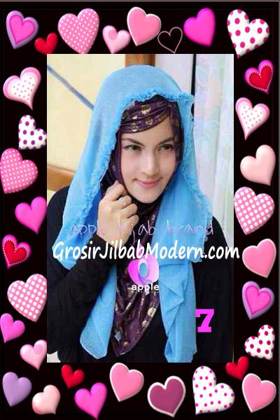 Jilbab Syria Hoodie Aesah Jolie Layer Praktis by Apple Hijab Brand No 7 Biru