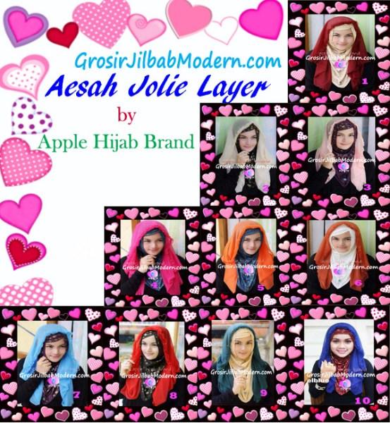 Jilbab Syria Hoodie Aesah Jolie Layer Praktis by Apple Hijab Brand Series
