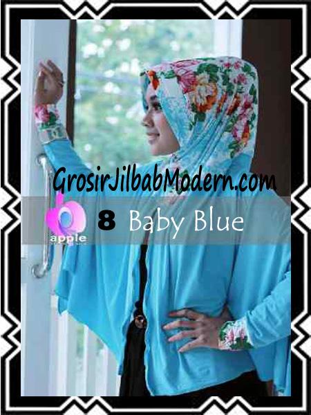 Jilbab Lengan Modern Syar'i Al Waqiah by Apple Hijab Brand No 8 Baby Blue