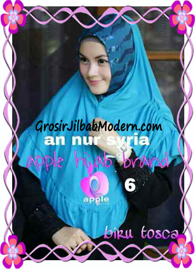 Jilbab Pesta Instant Modern An Nur Syira Sequin by Apple Hijab Brand No 6 Biru Tosca