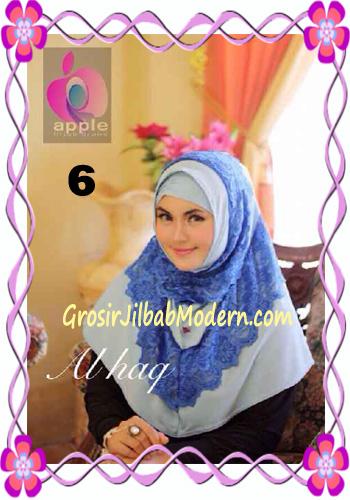 Jilbab Instant Modern Mewah Al Haq by Apple Hijab Brand No 6 Biru Muda
