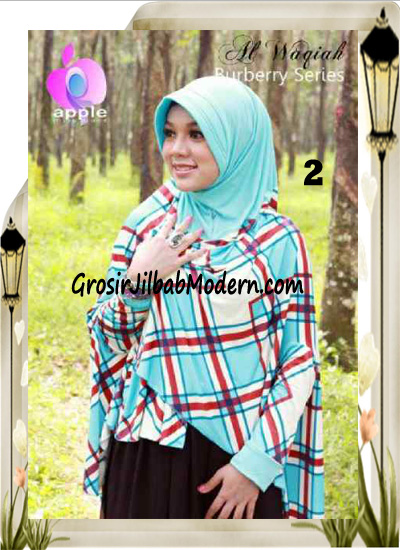 Jilbab Lengan Model Cardigan Luxury Al waqiah Syar'i Blueberry By Apple Hijab Brand No 2 Biru Muda