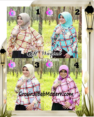Jilbab Lengan Model Cardigan Luxury Al waqiah Syar'i Blueberry By Apple Hijab Brand Series