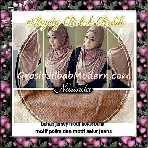 Jilbab Instant Modern Arzety Polka Bolak Balik Salur Jeans Original by Narinda ( Detail )