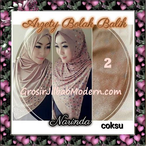 Jilbab Instant Modern Arzety Polka Bolak Balik Salur Jeans Original by Narinda No 2